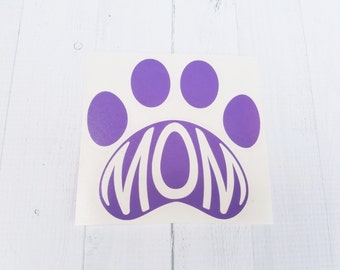 Dog Decal |Animal Paw Decal | Dog Mom decal | Pet Mom decal | Monogrammed Paw Decal | Dog Paw Decal | Car Decal | Cup Decal | Yeti Decal