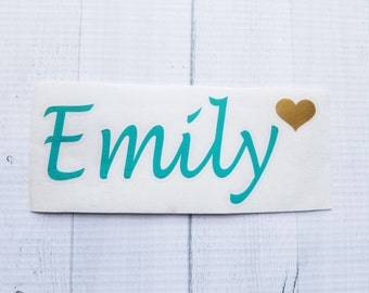 Name Decal with Heart | Name Decal | Personalized Name Decal | Custom Name Decal | Cup Decal | Personalized Decals | Yeti Decal