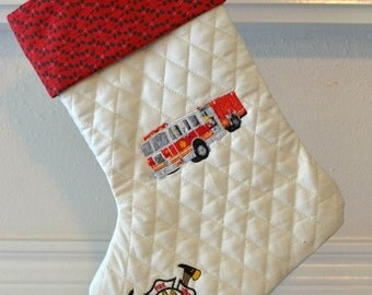 Embroidered Fire Department Christmas Stocking - Fire Truck - Firefighter Gift - Personalized Stocking - Custom Stocking