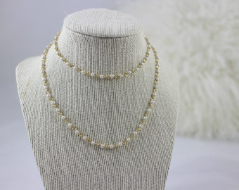 Simple Long Pearl Chain Necklace (Gold or Silver)