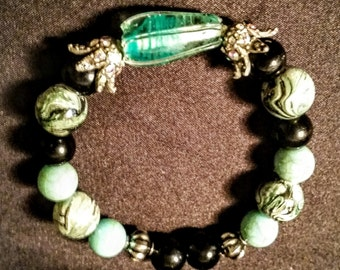 Turquoise and black stretch bracelet