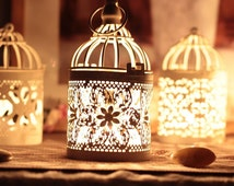 1 Pcs Candle Holder,Hollow Decor Candlestick Birdcage Light Lantern Stand Wedding