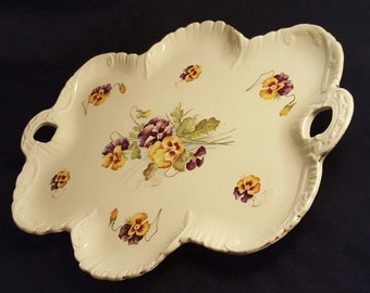Tray Empire Porcelain Pansies
