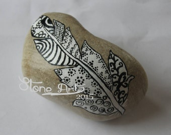 Big zentangle feather pebble gift wedding birthday engagement retirement baptism first communion home decor
