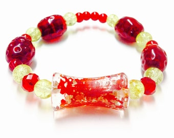 Red and Yellow Bracelet - Red and Yellow Glass Bracelet - Glass Bead Bracelet - Elastic Bracelet - Red Bracelet - Yellow Bracelet - Glass