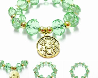 Gemini Bracelet - Green Gemini Bracelet - Gemini Charm Bracelet - Zodiac Bracelet - Gold Gemini Charm Braceley - Elastic Gemini Bracelet