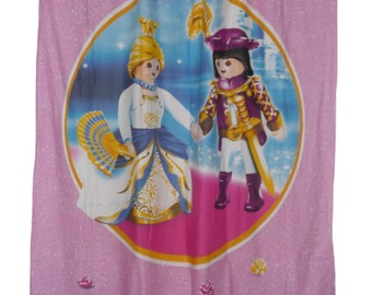 "Pink child curtain ""PRINCE & Princess PLAYMOBIL"" (with or without grommets)"