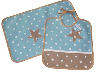 Placemat - BLUE WHITE - (oilcloth) and bib Kit