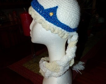 Snow Princess Hat with plaited hair scarf
