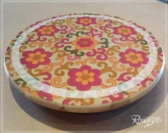 Wedding Gift Idea - Floral Design Wooden Lazy Susan - Cottage Flower Design - Wooden Revolving Tableware