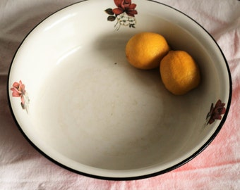 Vintage Shabby Chic Large Enaml Bowl with Roses