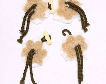 7 decorative fasteners 210x50mm, polyester, Khaki and beige (9776)