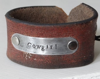 """Hand Stamped """"Cowgirl"""" re-inspired leather cuff"""