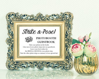Photobooth Guestbook Instructions sign - Wedding Reception Signage, Wedding Signs, Table Card, Modern, Calligraphy