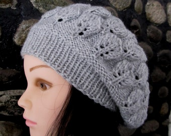 Leaf Beret Knitting Pattern : Knit leaf pattern Etsy