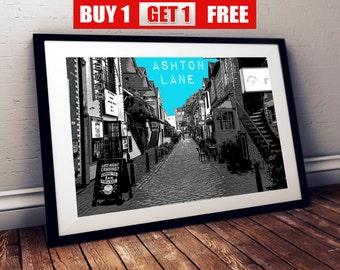 Ashton Lane Glasgow A4 Print