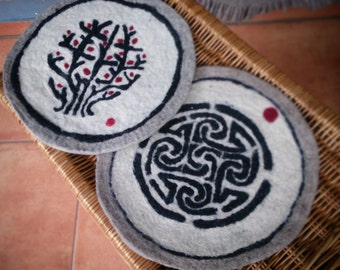 Unique hand Felted Mat with Symbols Home Decor