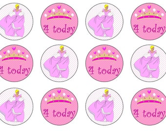 Princess Cupcake Toppers, 4th Birthday Toppers, Girls Birthday Toppers, Princess Party, Edible Prints, Add Any Age, Wafer Paper, Icing Paper
