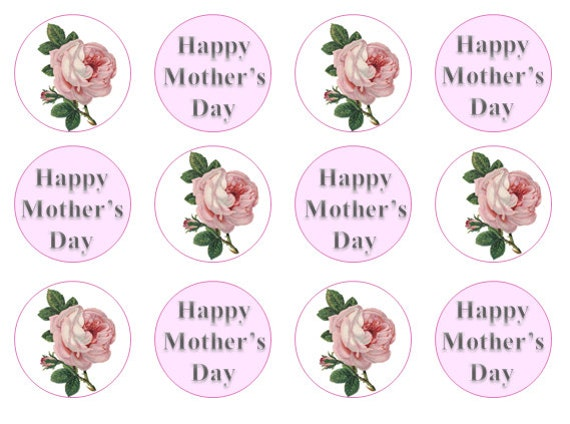 Mother 39 s day cake toppers edible cupcake toppers gift for Homemade edible mother s day gifts