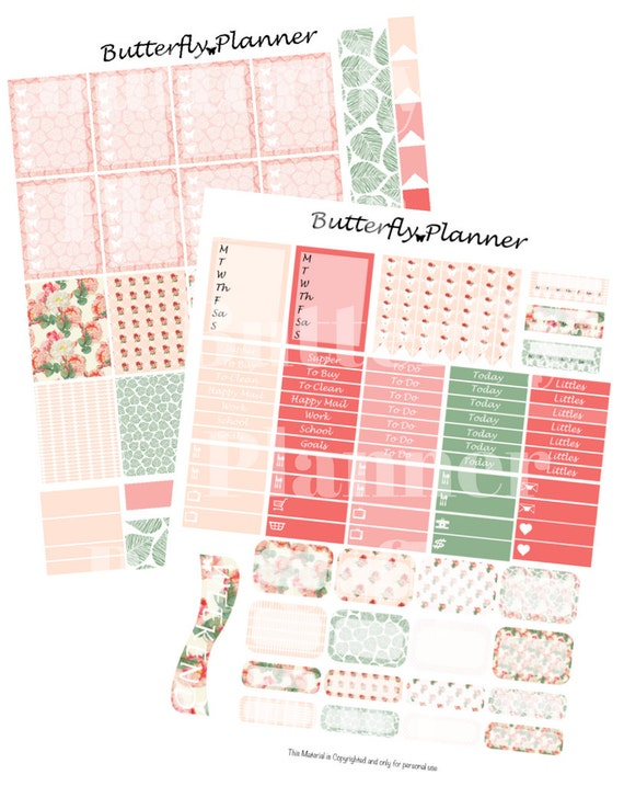 Roses Printable Planner Stickers 2 Pages