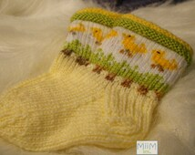 Soft Easter socks with cute yellow chickens design. Perfect Easter gift!