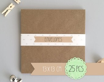Envelope square / kraft brown / 13 x 13 cm / 25 pieces