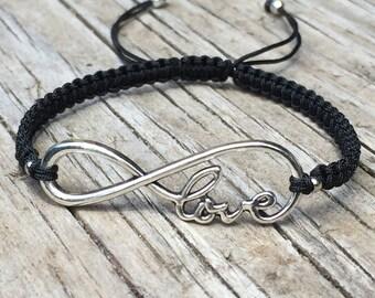 Infinity Love Bracelet, Adjustable Cord Macrame Friendship Bracelet, Infinity Bracelet, Gift for Her, Macrame Jewelry, Infinity Jewelry