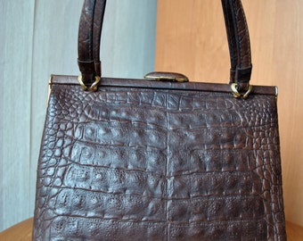 Vintage small cute dark brown genuine leather, crocodile leather imitation evening bag purse