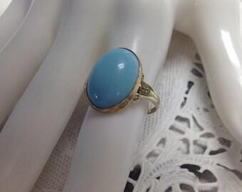 14k Art Glass Cabashon Ring