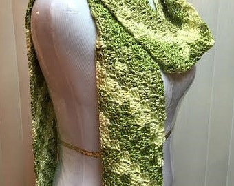 Avocado Green Scarf, Crochet Scarf, Open End Scarf, Green Scarf, Lightweight Scarf, Crocheted Scarf, Green Crochet Scarf, Gifts for Her