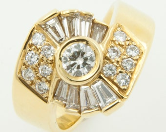Round Taper cut Natural VVS Diamond Ring 18k solid yellow gold US size 6 Genuine