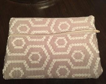 Tan and White Geometric Bag