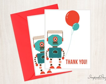"Robot - Birthday party - Thank you card - 4.25""x5.50"" - Digital/Printable File"