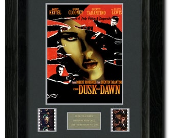 From Dusk Till Dawn Framed Film Cell, Mini Poster, Photo, Tarantino, George Clooney