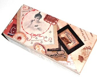 wooden box, chocolate print vintage style decoupage wooden box, jewerly box