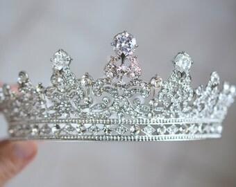 Full Bridal Crown, Crystal Wedding Tiara, Swarovski Crystal Wedding Crown, Silver Bridal Diadem, Diamante Tiara, Bridal Tiara, Ref ELISABETH