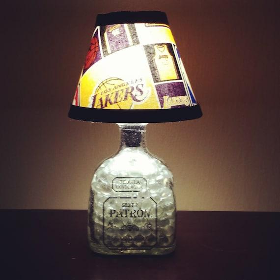 Handmade LED L.A. Lakers vs. Patron Tequila Liquor Bottle Lamp