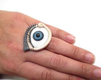 Blue eye ring / Eye ring / Blue eye / Eye jewelry / Handmade ring