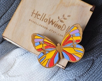 Wooden Butterfly Brooch in Wooden Box