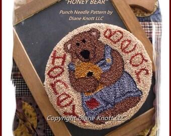 Honey Bear Punch Needle Pattern Download by Diane Knott LLC