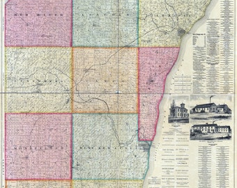 1895 Map of Kewaunee County Wisconsin Ahnapee
