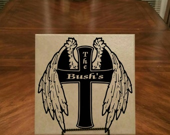 Personalized Cross with Wings 12x12 ceramic tile.