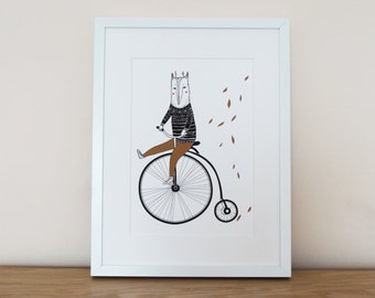 Art Print 'Fox on a Penny Farthing'