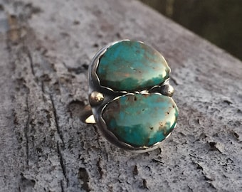 Oxidized Sterling Silver Ring & Double Turquoise Ring, Size 7.5-7.75