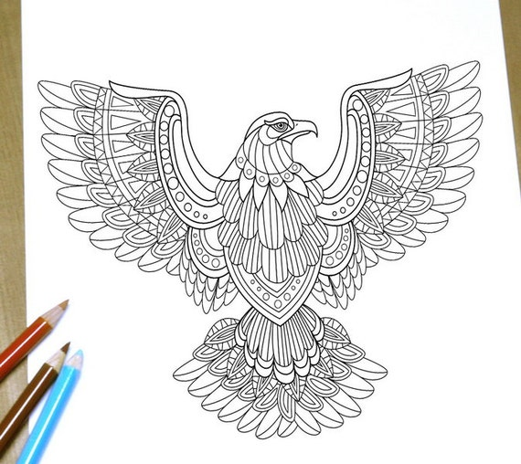 Items similar to Flying eagle Coloring