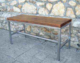 Black Walnut and Steel Bench - Industrial Modern