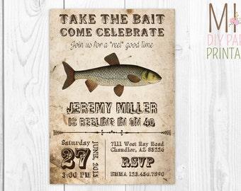 Vintage Fishing Invite 2,Fishing Invitation, Gone Fishing Birthday Party Invitation Digital Invitation, Fish Birthday Invitation