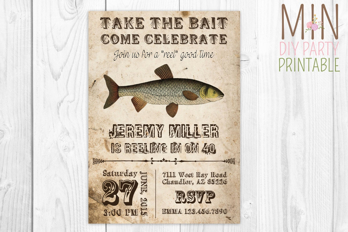 Vintage fishing invite 2fishing invitation gone fishing for Fishing birthday invitations