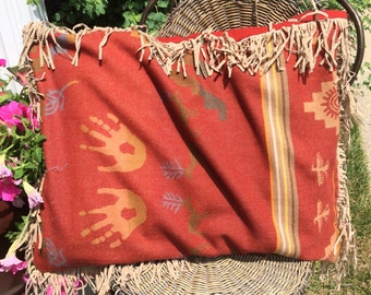 Famous name wool fabric (by Pendleton) with beaded fringe - latex pillow included
