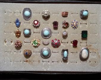 Rings, costume jewelry, 50's, rhinestones, adjustable, other vintage stones